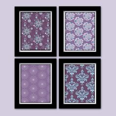 Prints for Kendall's room :)    Purple and Teal Nursery Wall Art -- BROOKLYN -- Set of (4) - 8X10 Digital Prints for home decor -- Custom colors sizes available. $35.00, via Etsy.