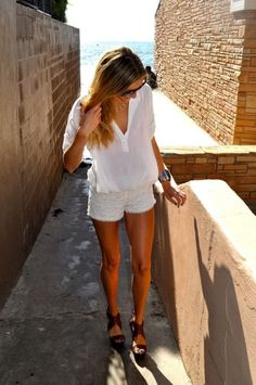 Every closet needs a pair of good fitting white shorts or white cut off jeans.