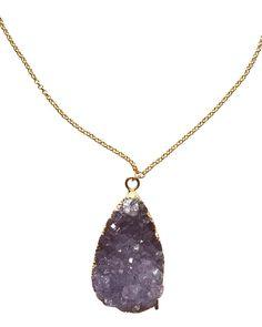 Crave Salt | Natural Amethyst Gold Pendant Necklace #cravesalt #jewelry #loveandpieces