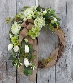 Spring Wreath Summer Wreath Burlap Wreath by KathysWreathShop