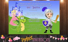 Knight Invitation Knight and Dragon Printable by MariusDesigns Summoning, Knight, Projects To Try, Castle, Family Guy, Dragon, Printables, Invitations, Birthday