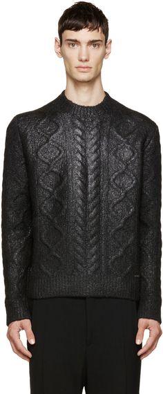 https://www.ssense.com/en-us/men/product/dsquared2/black-coated-cable-knit-sweater/1190433