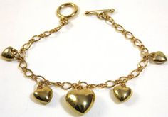 Puffy Heart Charm Bracelet by KatsCache on Etsy, $15.95