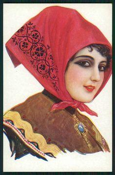 art Chantecler Spanish Lady Flamenco Dancer Hairdo original 1910s postcard i
