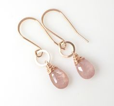Pink Sapphire Earrings Rose Gold Filled September Birthstone Blush Pink Sapphire Earrings Blush Pink Gold Jewelry Petite Gemstone Jewelry by ShopGreyweather on Etsy https://www.etsy.com/listing/245962020/pink-sapphire-earrings-rose-gold-filled