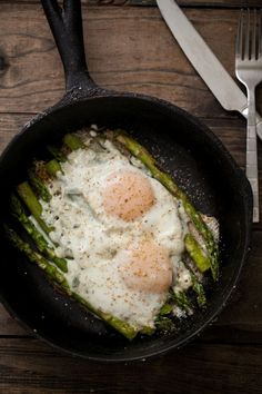 Asparagus and Eggs - My mom made this for us all the time... Like they do in Milano... Delicious and pretty! Liapela.com