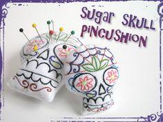 DIY Hand-Stitched Día de los Muertos Embroidered Sugar Skull Pincushion/Ornament