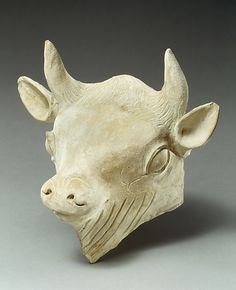 Terracotta head of a bull | Late cypro-archaic period, late 6th century BC | Cypriot