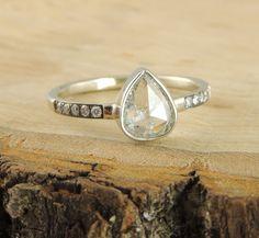Handmade Diamond Engagement Ring, Rose Cut Diamond 14k White Gold by PointNoPointStudio on Etsy https://www.etsy.com/listing/188490515/handmade-diamond-engagement-ring-rose