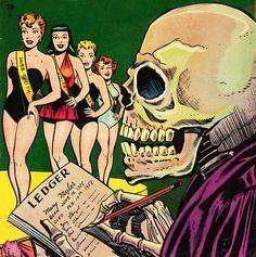 Voodoo #14 (1954), pulp Death grim reaper Father Time scythe maid girl woman dance danse macabre skull skeleton