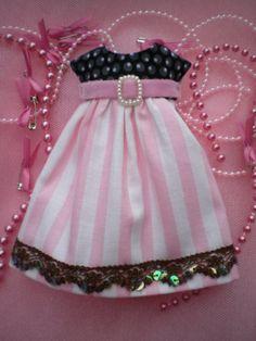 PINK Black Dotty stripes DRESS for Blythe Doll PINK by ardentcurse