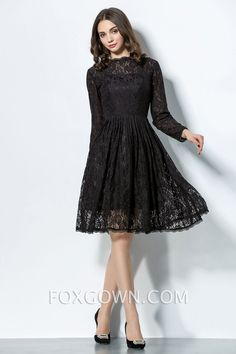 long sleeve black lace knee length bridesmaid dress