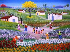 VALQUIRIA BARROS TEMA CIRANDA DE FLORES A VENDA COM AJUR SP (Painting),  30x40 cm por Arte Naif AJUR SP VENDEDOR E DIVULGADOR DA ARTE NAIF BRASILEIRA