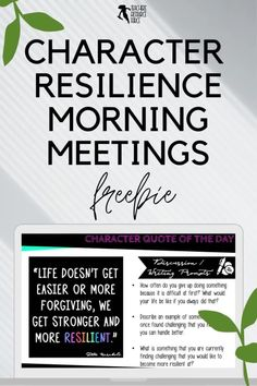 Character Education Morning Meeting Digital Whiteboard and Printable Journal freebie sample on RESILIENCE, ideal for social and emotional learning. This resource includes both a sample of the PowerPoint and the Journal of the same quotes so you can display the quote on the board while students record their reflections in their journals. This allows for maximum impact and flexibility for you and your needs. Teaching Character, Character Education, Character Development, Personal Development, Social Emotional Learning, Social Skills, School Resources, Teaching Resources, Growth Mindset Activities