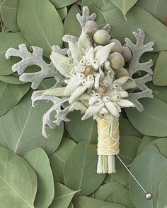 Edelweiss flowers and frog berries over dusty-miller leaves finished with jacquard ribbon