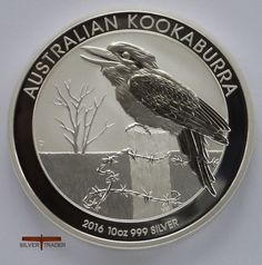 The 2016 Australian Kookaburra 10 ounce silver bullion coin features a laughing Kookaburra sitting on a fence post with barbed wire in the Australian outback