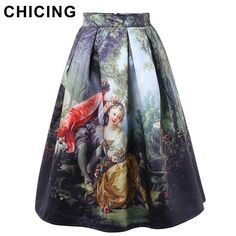 CHICING 50s Princess Royal Vintage Retro Fantasy Oil Painting Floral Print High Waist Midi Skirt Circle Saia Femininas A1509028-in Skirts from Women's Clothing & Accessories on Aliexpress.com | Alibaba Group