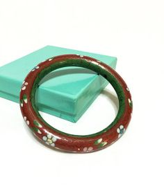 Red Stacking Bangle Chinese Cloisonne Bracelet White Green
