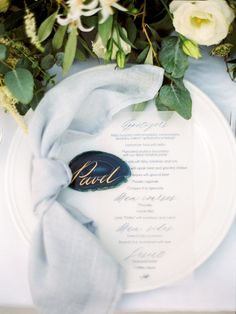 Pastel Blue & Green Destination Wedding at Corfu Luxury Villas, Planned by Rosmarin Weddings & Events Backyard Wedding Pool, Beach Wedding Reception, Wedding Table, Wedding Events, Reception Ideas, Floral Arch, Floral Garland, Romantic Weddings, Real Weddings