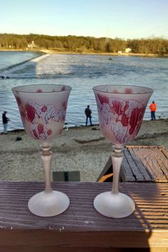 MysticLand Frosted Crystal Stemware, Golden Love Fever, Set of 6 Palestinian Crystals, 6 oz , Romantic, Bridesmaid Glass, Wedding Gifts by MysticLandPainted on Etsy