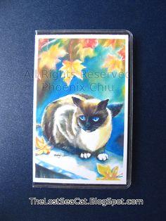 Credit Card Holder  Card Case Mini Wallet  Siamese Cat Under