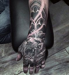 Roaring Lion Guys 3d Hand Tattoos