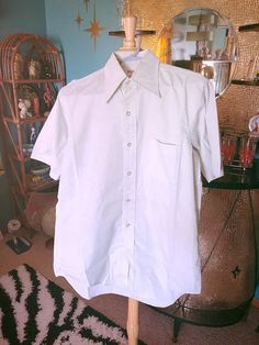 a0d98499e0d Items similar to Vintage 1960s Shirt men s pale green M short sleeve  Rockabilly Mod 60s on Etsy