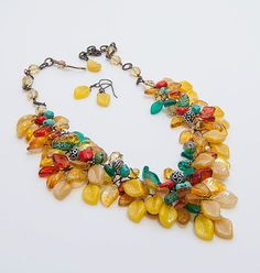 Yellow Statement Necklace, Beaded Necklace, Fall Necklace in multi colors, Southwestern Jewelry, Nature Jewelry