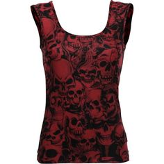 Gothic clothing: red and black girl's top with skulls ($26) ❤ liked on Polyvore featuring shirts and tanks