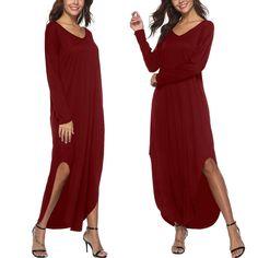 9cec881e V-Neck Loose Long-Sleeved Split-Length Dress