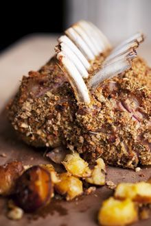 Rack of lamb with lemon potatoes by Nigel Slater, (I've never made lamb but this looks Delicious! Lamb Recipes, Cookbook Recipes, Meat Recipes, Cooking Recipes, Savoury Recipes, Think Food, I Love Food, Good Food, Yummy Food