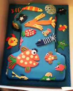 Hooray for Fish by Lucy Cousins 1st first birthday cake