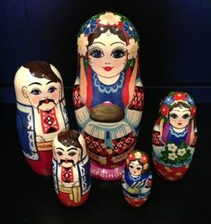 Russian Set 5 Units Ukrainian Art Nesting Family Dolls Matryoshka Handmade Gifts Brand New | eBay, cost 11.51$ plus ship 6$ date Oct 2013