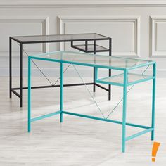 Transform your workspace and create a room you'll love with these sleekly designed office desk by Just Home. The glass and metal construction adds a modern touch with a graceful twist to complement your office, dorm room, den and more. Features tempered glass and powdered-coated finish for added durability. Each glass desk sold separately.