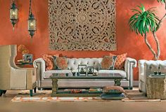 Bali Wood: East meets West in this exotic, elegant livingroom. George Grand Sofa, $1,999.