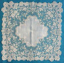 Antique/vintage fine Brussels applique lace handkerchief - from Paris