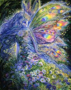 Gossamer Magic, Josephine Wall    The blue fairy glances behind her to admire her beautiful wings, as she moves silently through the dark forest, leaving a carpet of magical flowers behind her. She hopes that she will have enough fairy dust to complete her task of filling the woods with colour and light for all to enjoy.