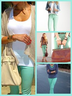Different options for mint green pants