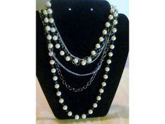 "Vintage Pearl, Gunmetal Links & Silver 3 Strand Long 35"" Necklace http://www.ebay.com/itm/181243606391?ssPageName=STRK:MESELX:IT&_trksid=p3984.m1555.l2649"
