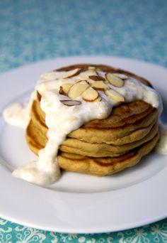 High-Protein Pancakes With Banana Cream Sauce #determination #fitness #bodyweight #ideas #cute #beautiful #wellbeing #healthy #living #life #woman #abs #slim #quotes
