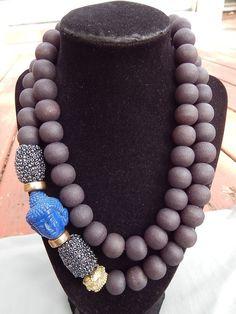 Estate Asian Inspired Wood Bead Blue Resin Aksobhya Buddhist Deity Bead Necklace