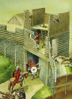 Artist-Reconstruction-of-the-South-west-gate-Illustrated-by-Peter-Dennis-Source-British-Forts-in-the-Age-of-Arthur-. Medieval Life, Medieval Castle, Military Art, Military History, Ancient Rome, Ancient History, Forte Apache, Rome Antique, Roman Britain