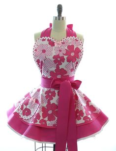 Retro Apron - Pink Floral Sexy Womans Aprons - Vintage Apron Style - Hot Pink Pin up Flowers Rockabilly Cosplay Lolita