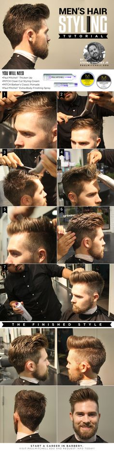 A Hair Styling Tutorial for the modern-day haircut. Hair trends and styles. Have this done at our Hair Salons located at the Lower Ground Floor and Floor! Hair And Beard Styles, Short Hair Styles, Pompadour Men, Look 2015, Look Man, Boy Hairstyles, Medium Hairstyles, Wedding Hairstyles, Hairstyle Men