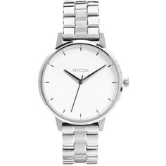 Nixon Silver Kensington Watch ($200) ❤ liked on Polyvore featuring jewelry, watches, accessories, bracelets, fillers, silver, bracelet jewelry, silver wrist watch, nixon y silver watches