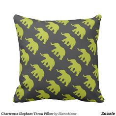 Chartreuse Elephant Throw Pillow