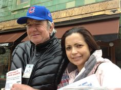 """Roxanne Volkmann sent in this  photo of her and her regular  StreetWise Vendor, Mike Brown.  She writes, """"I've known Mike  for several years and he went  from being the SteerWise  vendor in my neighborhood  to being my friend. He's kind  and thoughtful and I value his  friendship very much."""""""
