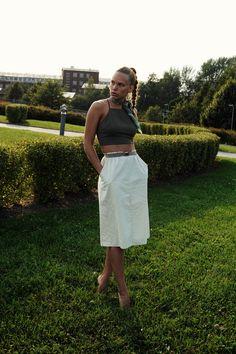 JAVS: GREEN Vintage skirt, khaki top