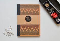 Sketchbook Notebook bound Kraft paper triangles blank plain jotter daybook geometric pocket book