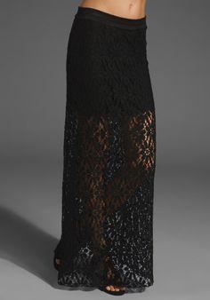 Vera Maxi Skirt with Mini Skirt Lining in Black